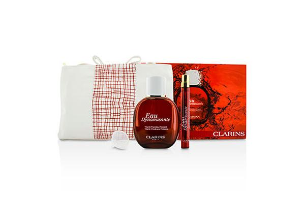 Clarins Eau Dynamisante Coffret: Fragrance Spray 100ml/3.3oz + Refillable Spray 10ml/0.3oz + Refill Funnel + Bag (3pcs+1bag)