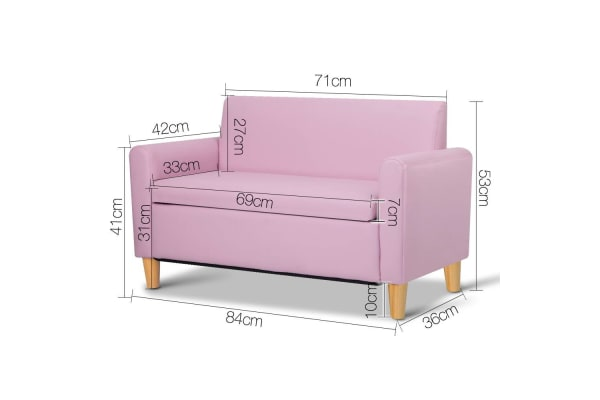Kids PU Leather Couch Double (Pink)