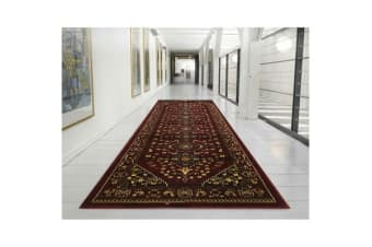 Traditional Shiraz Design Rug Burgundy Red 300x80cm