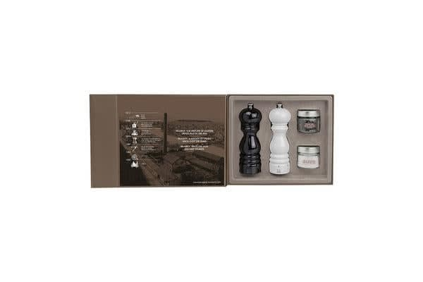 Peugeot Paris Salt & Pepper Mill Gloss Black and White Duo Gift Set