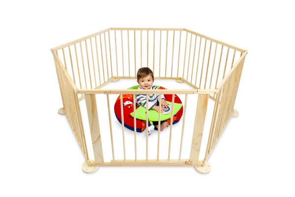 Bubbli 6 Sided Wooden Playpen (Natural)