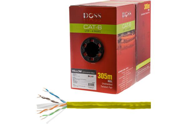 Doss 305M Cat6 Solid Cable Yellow