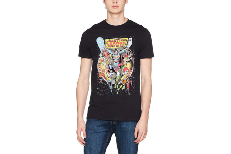 Justice League Unisex Adults Comic Cover Design T-shirt (Black) (M)