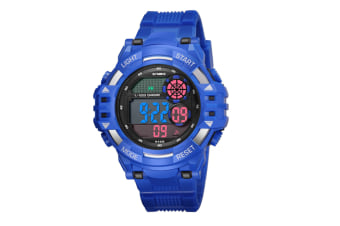 Men'S Watch Fashion Waterproof Multifunctional Student Electronic Watch Blue
