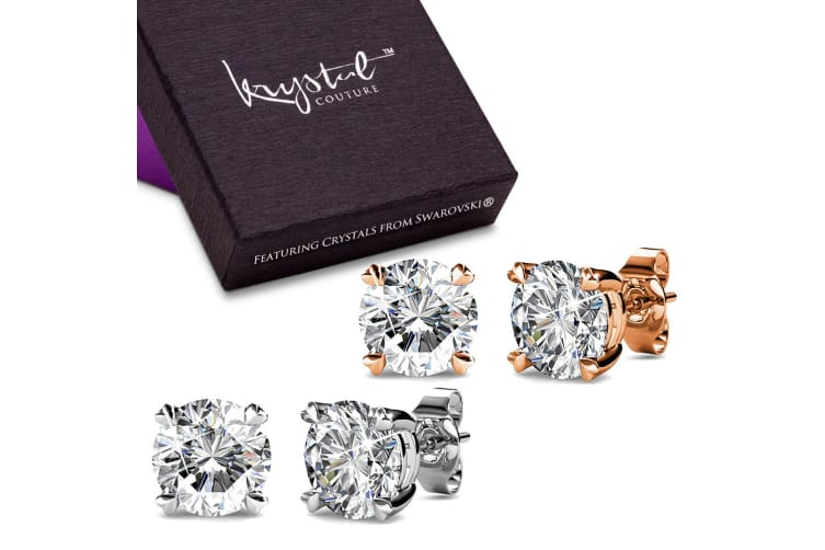 Boxed 2 Pairs Solitaire Studs Earrings Set Embellished with Swarovski crystals