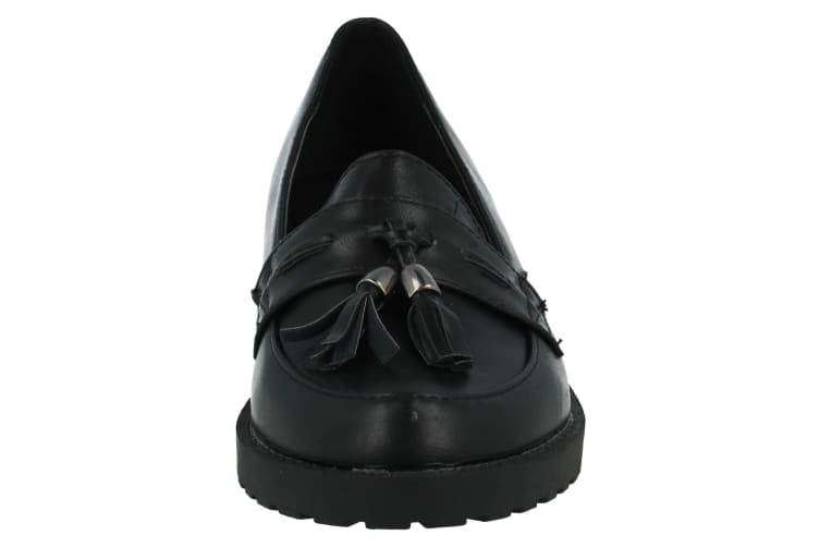 Spot On Childrens Girls Casual Tassel Trim Flat Loafers (Black) (UK Size 11 Child)