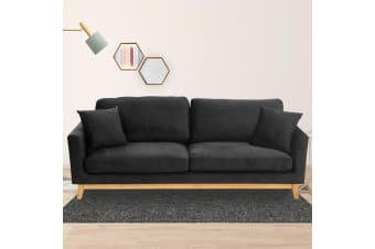 Sarantino 3 Seater Velveteen Sofa Bed Couch Furniture - Black