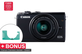 Canon EOS M100 Mirrorless Camera with EFM15-45mm ISST Lens (M100KISB) and BONUS Green Camera Jacket