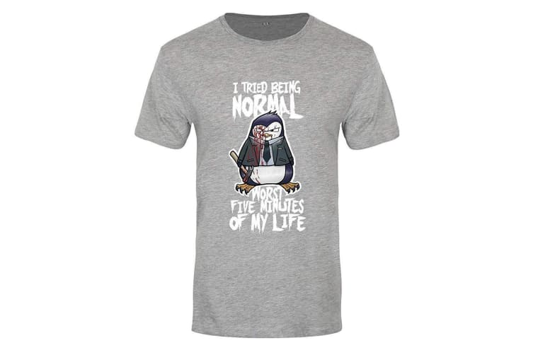Psycho Penguin Mens  I Tried Being Normal Premium T-Shirt (Grey) (Large (40-42in))