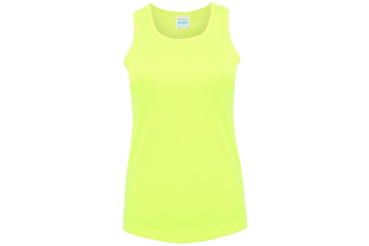 Just Cool Girlie Fit Sports Ladies Vest / Tank Top (Electric Yellow) (L)