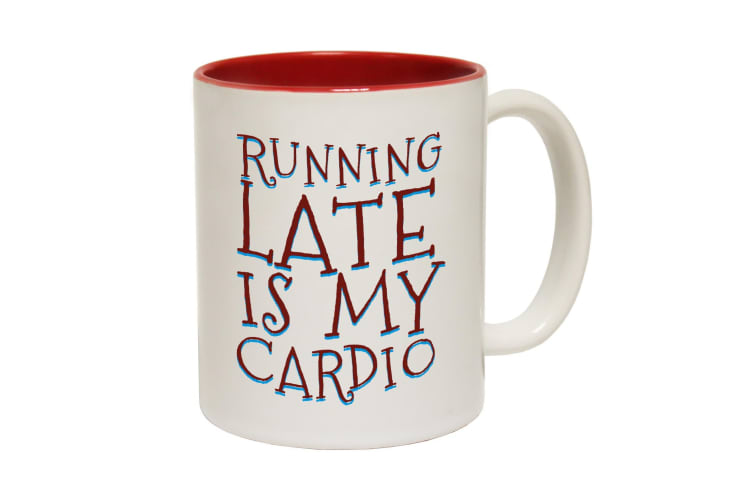 123T Funny Mugs - Running Late Is Cardio Cool - Red Coffee Cup