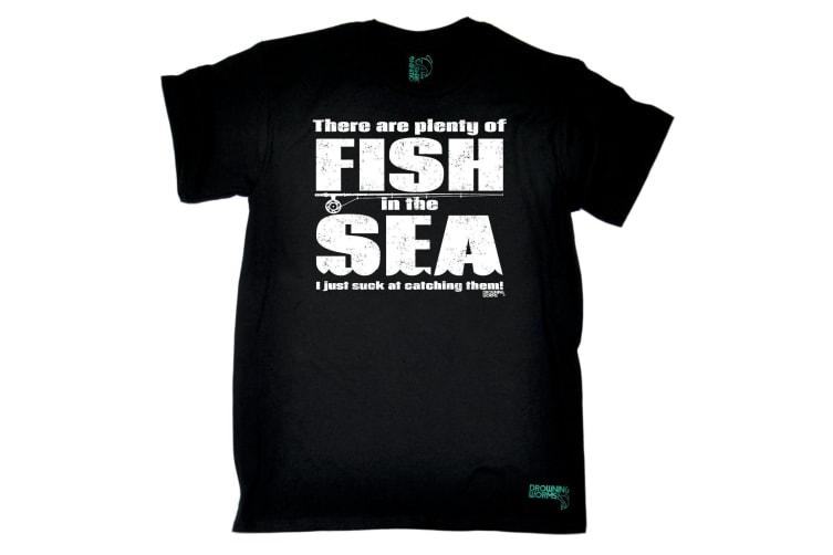 Drowning Worms Fishing Tee - There Are Plenty Of Fish In The Sea - (5X-Large Black Mens T Shirt)