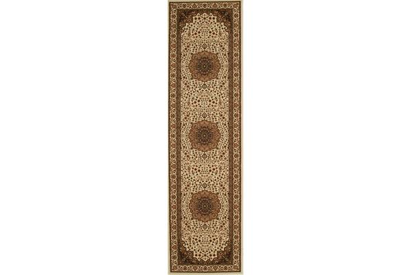Stunning Formal Medallion Design Rug Cream 300x80cm