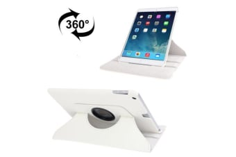 For iPad 2018 2017 9.7in Case Rotatable Lychee Leather Shielding Cover White