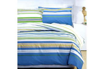 Floyd Stripes Blue Quilt Cover Set Queen by Deco