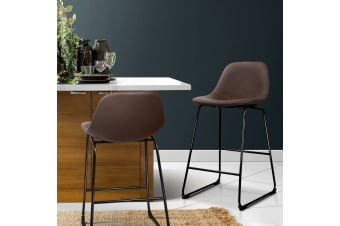 Artiss 2x Kitchen Bar Stools Metal Bar Stool Leather Dining Chairs Brown