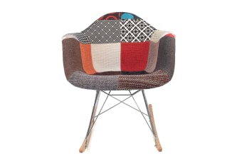 Replica Eames RAR Rocking Chair | Multicoloured Patches V2 Fabric Seat