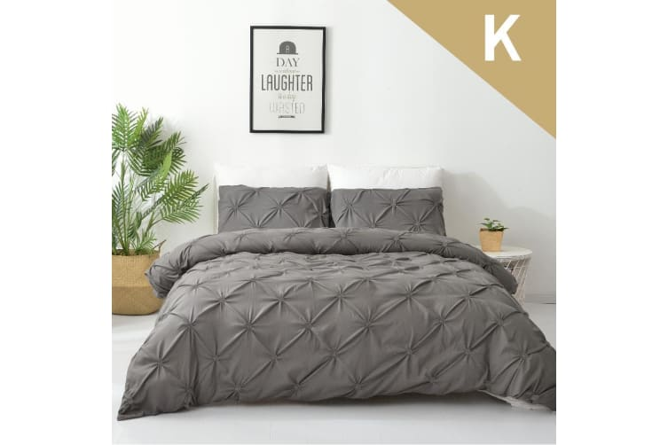 King Size Diamond Embroidery Pintuck Quilt/Duvet Cover Set-Stone