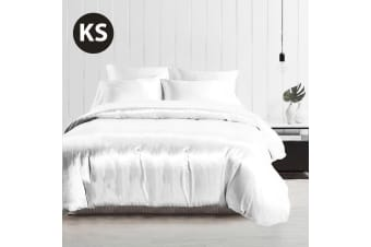 King Single Size Silky Feel Quilt Cover Set-White