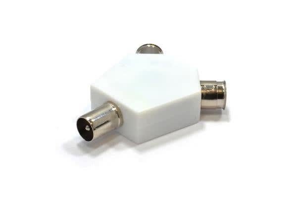 Image of 2 Way Splitter Rf Plug Satellite Coaxial Antenna Combiner 2 Female To Male Rf Plug