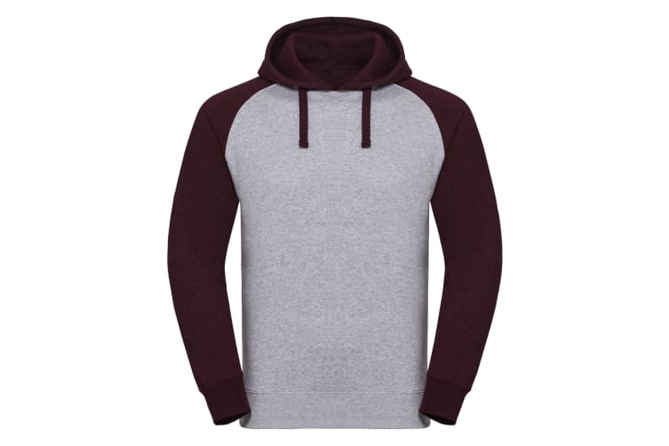 Russel Mens Authentic Hooded Baseball Sweatshirt (Light Oxford/Burgundy Melange) (2XL)