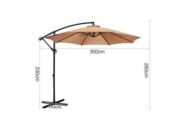 Instahut 3M Cantilevered Outdoor Umbrella Beige