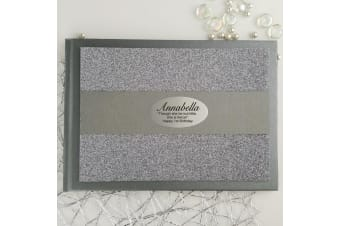 1st Birthday Personalised Glitter Guest Book- Silver