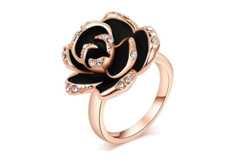 Austrian Crystal Rose Gold With Diamonds Black Rose Ring 7