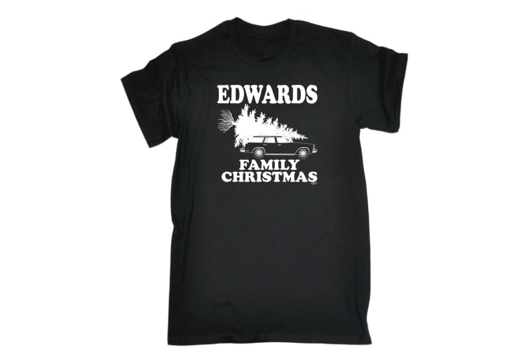 123T Funny Tee - Edwards Family Christmas - (XX-Large Black Mens T Shirt)