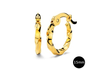 Twisted Hoop Earrings 15mm|Yellow Gold