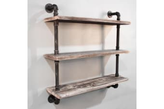 92CM Rustic Industrial DIY Floating Pipe 3 Level Suspension Shelf