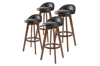 4x Oak Wood Bar Stool 72cm Leather LEILA - BLACK BROWN