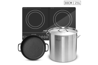 SOGA Dual Burners Cooktop Stove, 30cm Cast Iron Skillet and 21L Stainless Steel Stockpot 30cm