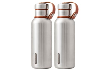 2x Black + Blum 500ml Vacuum Insulated Stainless Steel Drink Flask Bottle Orange