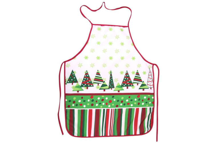 Christmas Unisex Apron Kitchen Bar Home Adult Kids Cooking Party Funny Xmas Gift - Christmas Snow w Tree