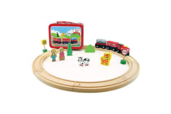 Wooden Train Set in Carry Case - Kaper Kidz