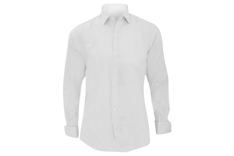 Brook Taverner Mens Chelford Cotton Slim Fit Double Cuff Work Shirt (White) (17)