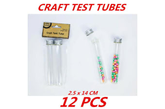 12 x Clear Glass Lab Craft Test Tubes w Aluminium Top Lid Wedding Party Home Favours