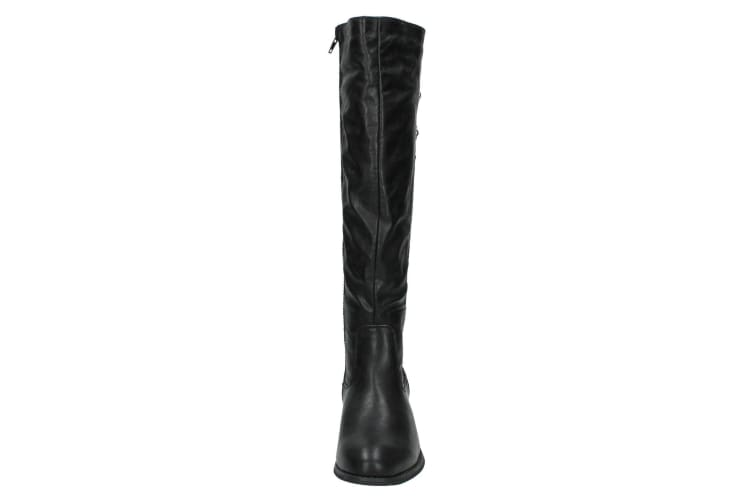 Spot On Womens/Ladies Mid Heel High Leg Boots With Button Detail (Black) (5 UK)