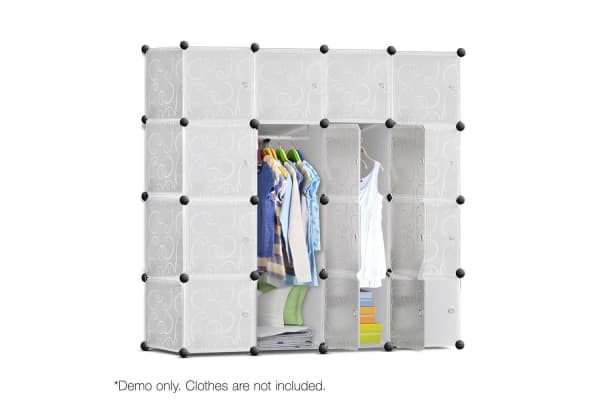 16 Cube Storage Cabinet with Hanging Bars (White)