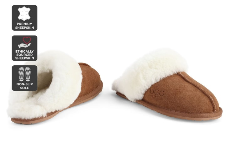 Outback Ugg Slippers - Premium Sheepskin (Chestnut, 5M / 6W US)