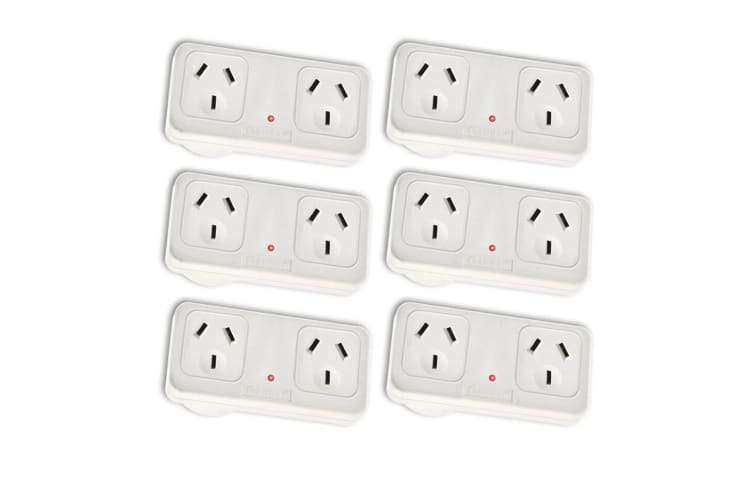 6x Sansai Horizontal Right Powerpoint Double Surge Protector Adaptor/Outlet/AU