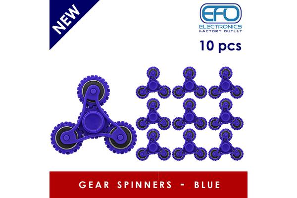 10Pc 10X 3D Hand Spinner Fidget Toy Gear Style Stress Reliever Fast Bearing Spin Blue