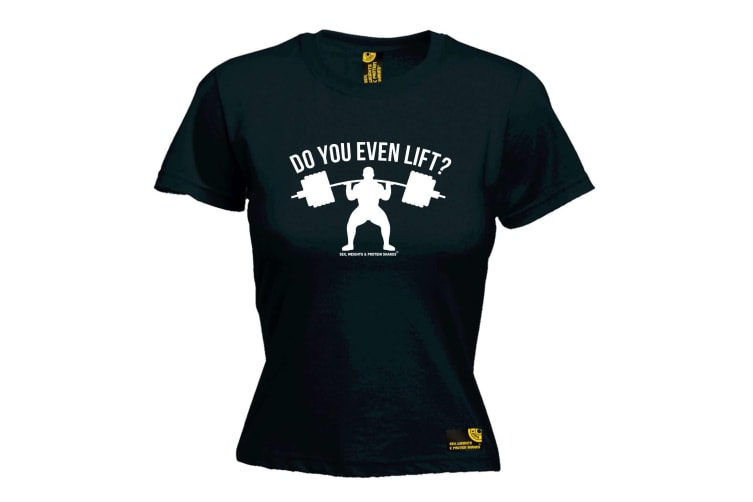 SWPS Gym Bodybuilding Tee - Do You Even Lift - (Large Black Womens T Shirt)