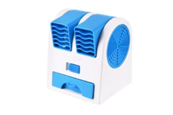 Select Mall Creative Mini Double Hole Fan Without Leaf Cooling Fan Quiet Fragrance Portable USB Desktop Small Fan-Blue