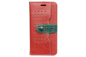 For iPhone 8 PLUS 7 PLUS Wallet Case Fierre Shann Buckle Leather Cover Red
