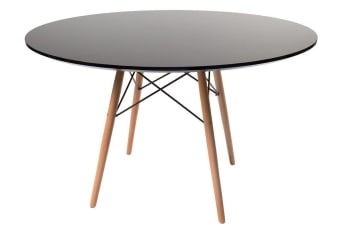 Replica Eames DSW Eiffel Dining Table | Black Top | Natural Legs | 120cm