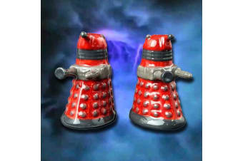 Doctor Who Dalek Ceramic Salt & Pepper Shakers | Red Dinner Kitchen Pots BBC