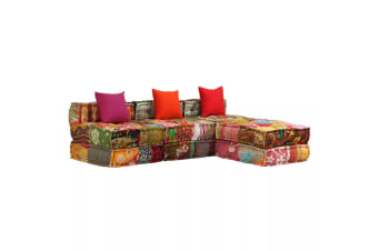 vidaXL 3-Seater Modular Sofa Bed Fabric Patchwork