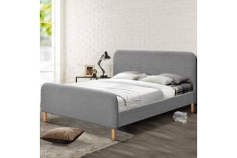 Double Full Size Bed Frame Base  Platform Fabric Wooden ROMA